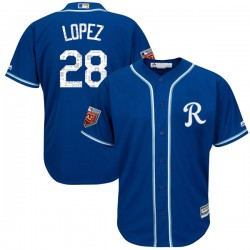 Kansas City Royals Jorge Lopez Official Royal Replica Youth Majestic Cool Base 2018 Spring Training Player MLB Jersey