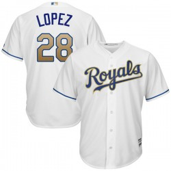 Kansas City Royals Jorge Lopez Official White Authentic Men's Majestic Cool Base 2017 Home Player MLB Jersey