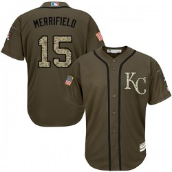 4cbebe6eb Kansas City Royals Whit Merrifield Official Green Replica Men s Majestic  Salute to Service Player MLB Jersey