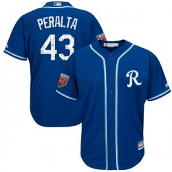 Kansas City Royals Wily Peralta Official Royal Replica Men's Majestic Cool Base 2018 Spring Training Player MLB Jersey